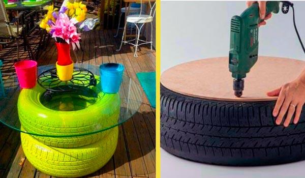 Mesa con Neumáticos